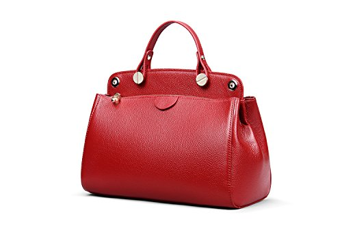 Hermiona Cow Leather Bag Shoulder Bag Top-handle Tote Bag Wine red