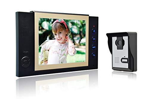 Nudito kit videocitofono universale per casa. video citofono porta (1 monitor lcd da 8 pollici, 1 telecamera esterna a infrarossi impermeabile con visione notturna. con la funzione di registrazione)
