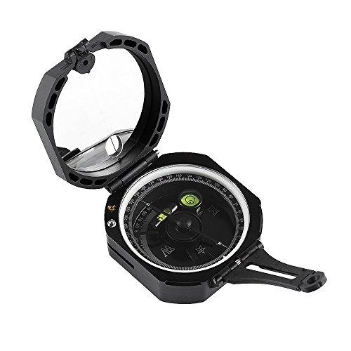Landnics Kompass Ultra Präziser Geologenkompass Leicht Taschenkompass mit Fluoreszierendem Zifferblatt Ultraschneller Richtungsanzeige Zwei Integrierten Wasserwaagen und Tragetasche für Geologe