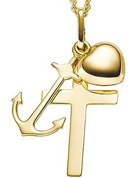 Anhänger Glaube-Liebe-Hoffnung 585 Gold Gelbgold 12x30mm Halsschmuck Damen