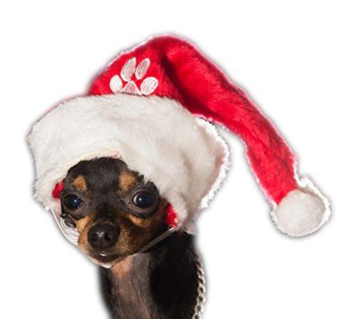 Weihnachtsmütze Nikolaus Mütze Weihnachtsmützen Xmas Mützen Nikolausmütze Hund Klein (Weiße Nikolausmütze)