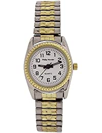 Philip Mercier Ladies White Dial Two Tone Expander Bracelet Strap Watch MC71