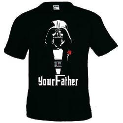 "Camiseta Star Wars ""Your Father Vader"" día del Padre manga corta (Talla: Talla L Unisex Ancho/Largo [56cm/74cm] Aprox])"