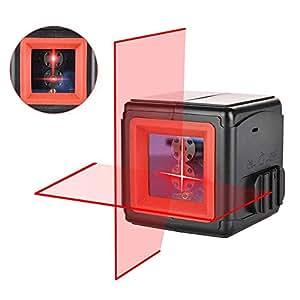 Niveau Laser Croix, Vorstik 2 Points Laser Horizontal et Verticale à 110° Auto-nivellement 1m incassable IP54 Anti-éclaboussures Distance de Travail 20m pour Décoration d'intérieur avec Sacoche