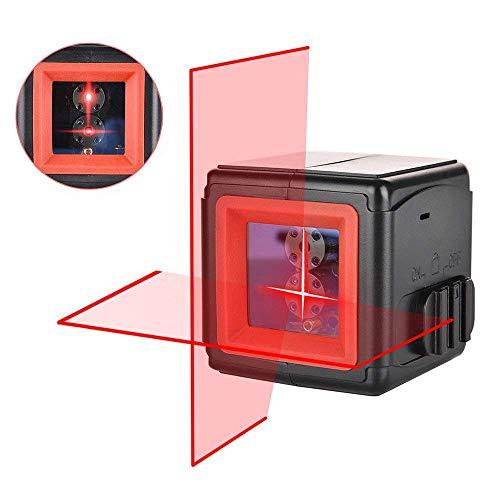 Niveau Laser Croix, Hanmer 2 Points Laser Horizontal et Verticale à 110° Auto-nivellement 1m incassable IP54 Anti-éclaboussures Distance de Travail 20m pour Décoration d'intérieur avec Sacoche