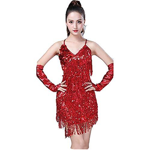 Glänzendes Tanzpartykleid für Frauen, Frauen Dancewear Rückenfreies Pailletten Quasten Ballsaal Samba Tango Latin Dance Dress Wettbewerb Kostüme Sleeveless Sway Flapper Cocktailkleid Quaste funkelnde (Red Fashion Flapper Kostüm)