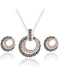 Glitz Fashion Gold Plated Austria Crystal Double Circles Necklace And Earrings-Jewelry Sets