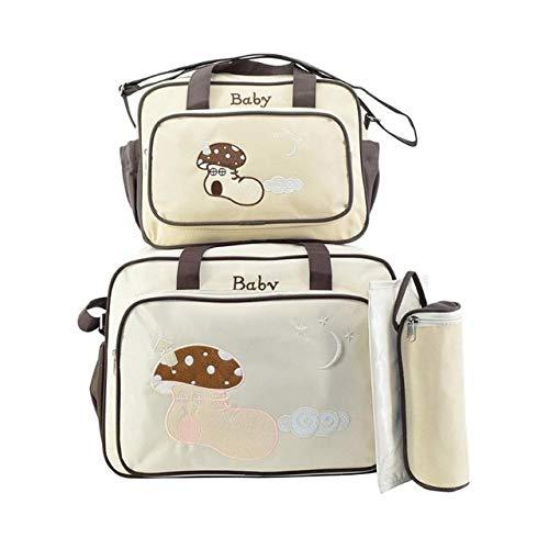 ZYYDMMB 4 stücke Mode Mamabeutel Große Kapazität Stickerei Reise Mutterschaft Baby Wickeltaschen Multifunktionale Pflege Windel Veranstalter Tasche Beige