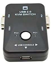 JX2 Dual/2 Port VGA KVM Switch Box with Built-in USB 2.0 Hub Ultra HD Connector/Allows You to Control Multiple Computers with One Monitor, USB Keyboard, USB Mouse & USB Printer.
