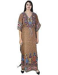 Classic Curves Women's Kaftan Dress Beach Cover Up Ladies Kaftan Sleepwear Polyester Kaftan Night Gown Robe V-Neck Cover Up