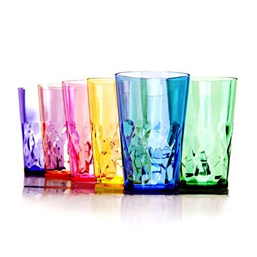 Premium Unbreakable Pint Glasses - Set of 6 - Tritan Plastic - BPA Free - 100% Made in Japan (Assorted Colors)