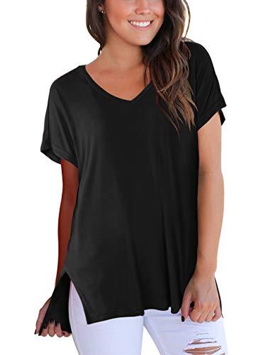 DJT Damen Kurzarm V-Ausschnitt Sommer T-Shirt Bluse mit Seitenschlitze Schwarz L -