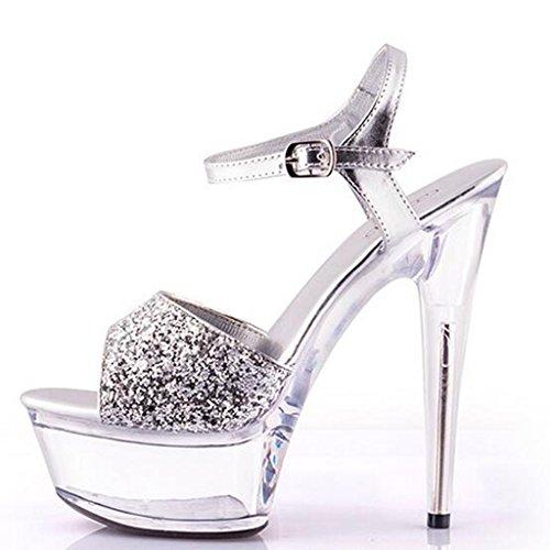 W&LMTacchi alti sandali Piattaforma impermeabile Spessore inferiore Scarpe modello fibbia della cintura Trasparente Scarpe Scarpe di cristallo silver 15 cm