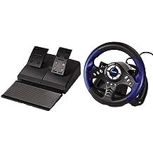 Hama Thunder V18 - Volante y pedales para videojuegos de PC (USB, analógico/digital, vibraciones), color negro y azul