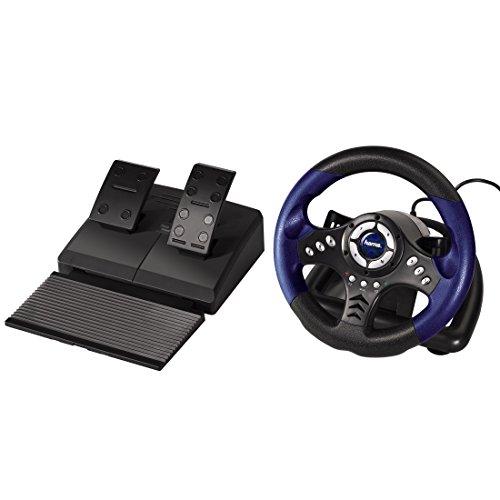 Hama PC-Racing-Wheel Thunder V18, mit Gas und Bremspedal, mit USB-Anschluss (Schwarz Pc Eingabegerät Usb)