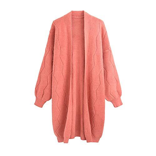 Ansenesna Cardigan Damen Herbst Winter Lang Strick Locker Elegant Mantel Einfarbig Mode Freizeit Für Frauen Teenager (Rosa) (Camo Rosa Mantel Für Frauen)