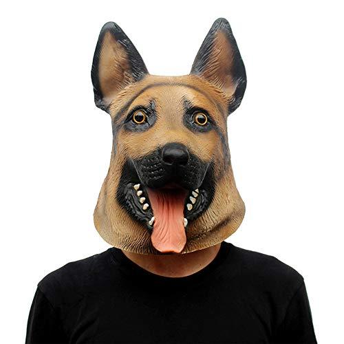 Yuepin Halloween Maske, Hund Latex Tierkopf Maske für Halloween Kostüm (Lustig Uk Kostüme Hund)