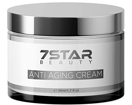 Anti Aging Creme hochdosiert | wirkt der vorzeitigen Hautalterung entgegen und reduziert selbst ausgeprägte Falten bei reiferer Haut | Hergestellt in Deutschland | 7 Star Beauty (Hyaluron Creme)