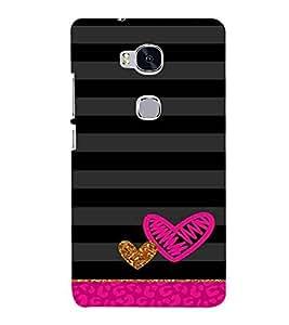 Heart, Black, Black & Grey Pattern, Great pattern, Printed Designer Back Case Cover for Huawei Honor 5X :: Huawei Honor X5 :: Huawei Honor GR5