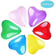Da.Wa 1 Paquete 100 pcs de Globos Corazón de Látex Globos para la Decoración de la Boda Decoración del Partido Cumpleaños Color Mezclado