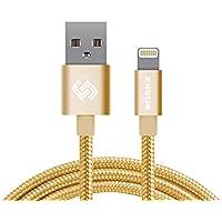 Snekz Lightning cavo di nylon intrecciato iPhone Charger - MFI certificato - per iPad Pro Air , iPod iPhone 6S Plus 6 Plus SE 5S 5C 5 - 3.3ft / 1m oro