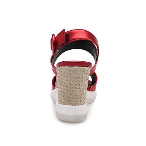 Damen Sandalen Einfach Schick Fischkopf Atmungsaktive Keilabsatz Bequem Rutschfest Abriebfeste Leicht Rot