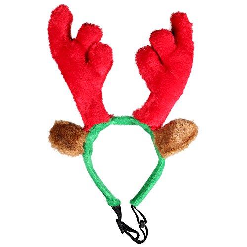 2er Set Kascha Weihnachtsmütze - Haarreif mit Elchgeweih / Rentiergeweih für Haustiere Hund & Katze Rot Grün - Nikolausmütze