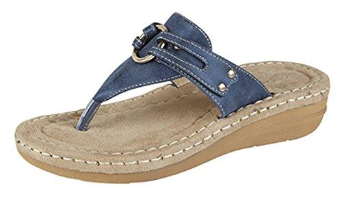 Damen Zehentrenner Maultier Komfort gepolstert Sandalen Size 3 - 8 Blau