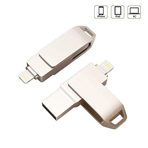 LIGHTOP Flash Laufwerk 64GB Mit 360°Rotationsschutz Fingerabdruck entsperren Flash Drive Expansion Memory Stick 2 in1 USB Stick Externer Speicherstick Lighting USB 3.0 für iPhone iPad Mac PC