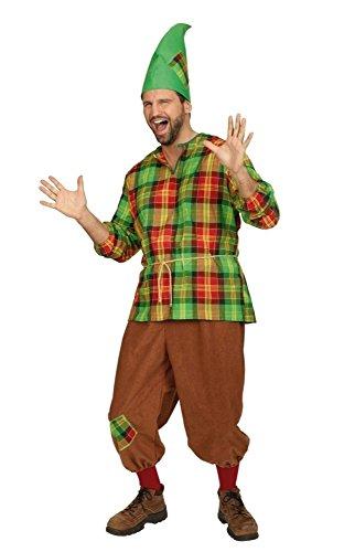 (KARNEVALS-GIGANT Zwergenkostüm grün-rot-braun für Herren | Größe 62/64 | 3-teiliges Märchen Kostüm für Karneval | Wichtel Faschingskostüm für Männer)