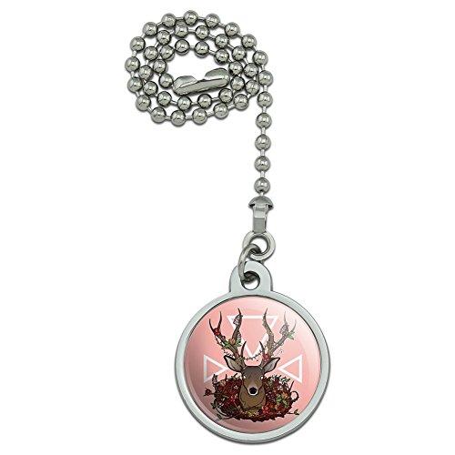 Deer Head Floral Deckenleuchte Fan und Licht Pull Kette (Jagd Deckenventilatoren Mit Beleuchtung)