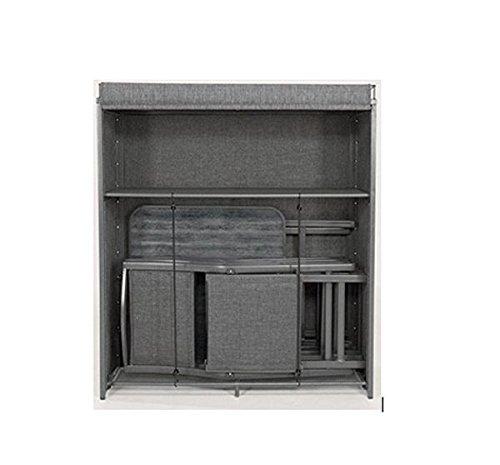 Testrut Aufbewahrungsschrank-Set Cadeo inkl. Tisch und 2 Klappstühle, Outdoor Gartenmöbel-Set aus Aluminium, wetterfester Balkonschrank mit Sitzgruppe, Grau