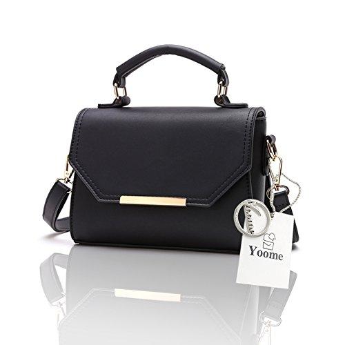 Yoome Elegant Retro Reine Farbe Klappe Tasche Mittel Crossbody Handtaschen Für Frauen Wristlet Make-up Tasche - Grau Schwarz