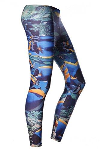 SANANG Femmes Protection solaire Collants de nattes imprimés Leggings à pleine longueur Plongée Pantalons de yoga de surf B