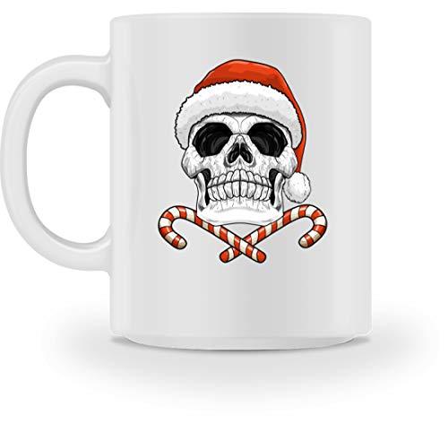 generisch Totenkopf Weihnachtsmann Totenschädel Weihnachten Becher Nikolaus - Tasse -M-Weiß
