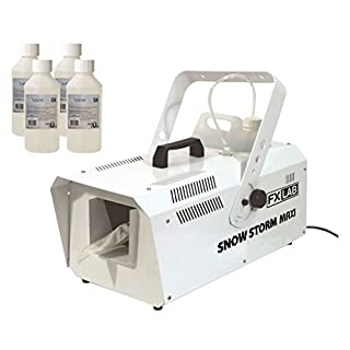 FX Lab 1200W Snow Storm Maxi Artificial Snow Effects Machine & 4x 250ml Bottles of Venu Snow Fluid, wow at your house party or seasonal event!