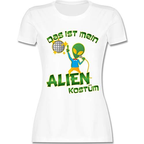 Disco Tanzen Kinder Kostüm - Karneval & Fasching - Das ist Mein Alien Kostüm Disco - XL - Weiß - L191 - Damen Tshirt und Frauen T-Shirt