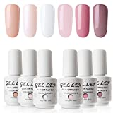 Vernis Gel Semi Permanent UV LED - Gellen Vernis à Ongles Vernis UV LED Nail Gel Soak off Manucure Kit 6×8ml,Nouveauté 10
