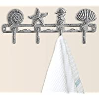 Comfify Vintage Seashell Coat Hook Hanger Rustic Cast Iron Wall Hanger w/ 4 Decorative Hooks | Includes Screws Anchors