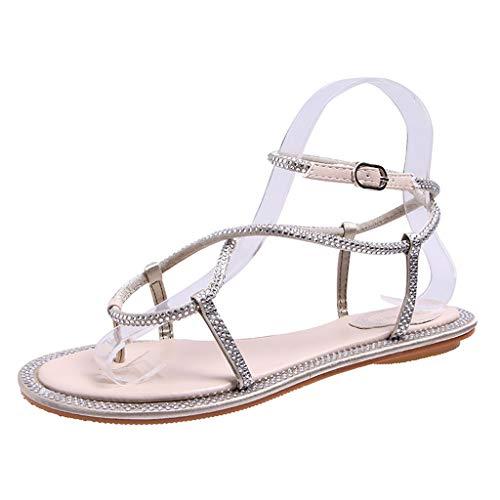 ❤Eaylis Damen Sandalen Horizontale Untere BohrbäNder Klemmen RöMische Schuhe Im Einfachen Stil Sommer Strand Schuhe Hausschuhe Stilvoll und elegant