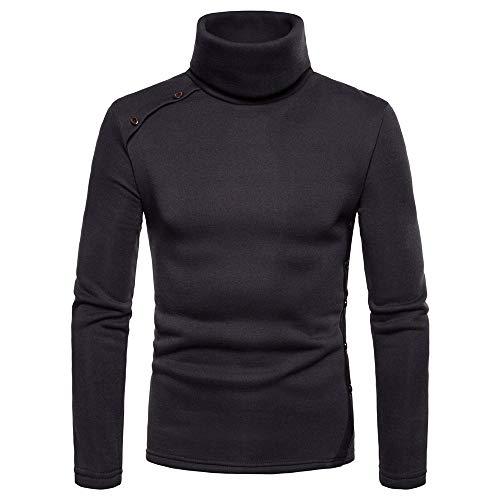 Venmo Mens Casual Solide Herbst Winter Button Choker Outwear Tops Pullover Bluse Herren Kapuzenpullover Hoodie Pullover mit Kapuze und Fleece-Innenseite
