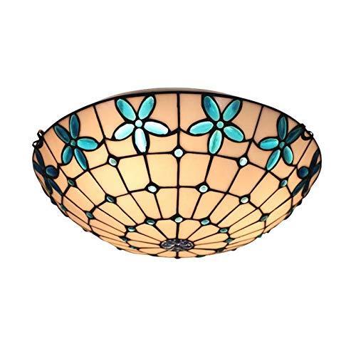 QCKDQ 16-Zoll-Deckenleuchten, Tiffany-Stil Deckenleuchte mit blau lila Blume Glasmalerei Lampe, Retro Wohnzimmer Dekoration Lichter E27, Max40w,Diameter50CM - Glasmalerei Lila