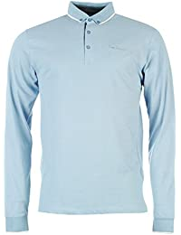 Pierre Cardin Jacquard Polo à manches longues pour homme Bleu Top T-shirt pour homme