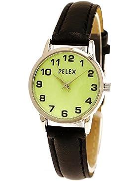 Elegante Kleine Pelex London Damen-Uhr Analog Quarz Armband-Uhr Klassisches Design Schwarz Silber mit leuchtendem...