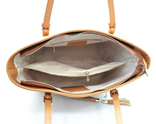 MICHELA Shopper Cabas, sac épaule avec pendentif avec franges en cuir, cuir Saffiano, fabriqué en Italie bleu