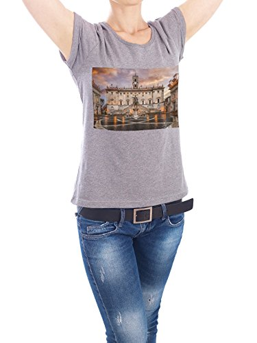Design T-Shirt Women Earth Positive Capitoline Hill in Roma grey size L - fair & eco-friendly shirt