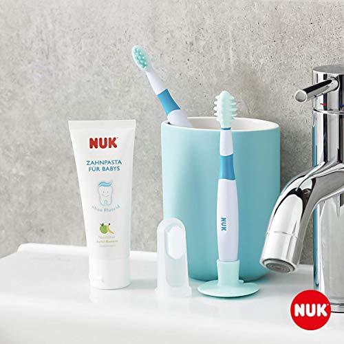 NUK 10256396 Mundpflege-Set mit Baby-Zahnpasta und natürlichem Apfel-Banane Geschmack, incl. Fingerzahnbürste, BPA frei, ohne Fluorid, 1 Stück - 3