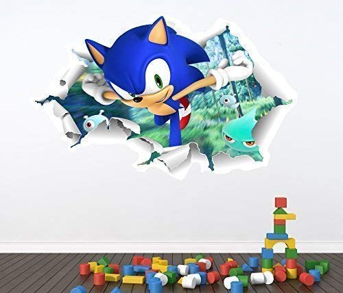 Sonic The Hedgehog volle Farbe Wandaufkleber - Mädchen Jungen Schlafzimmer C345 - Large: 70 cm x 109 cm ()