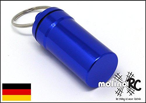 molinoRC Geocaching Versteck Nano Pillendose Pillencontainer Alu Container Micro Cache blau 4,5 x 2 cm Nano-cache