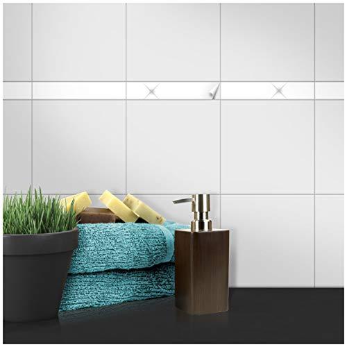 Wandkings Fliesenaufkleber - Wähle eine Farbe & Größe - Weiß Glänzend - 3 x 20 cm - 20 Stück für Fliesen in Küche, Bad & mehr -